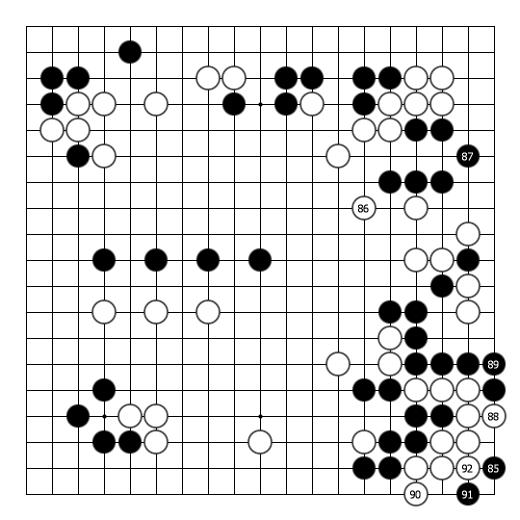 doremifa四个键曲谱-实战图3:白88,90,92后手走成盘角曲四(后手死),正是算准了黑外